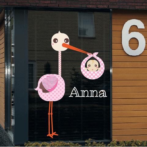Geboortesticker op raam type Anna