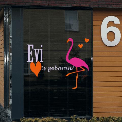 Geboortesticker op raam type Evi