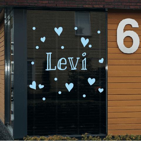 Geboortesticker op raam type Levi