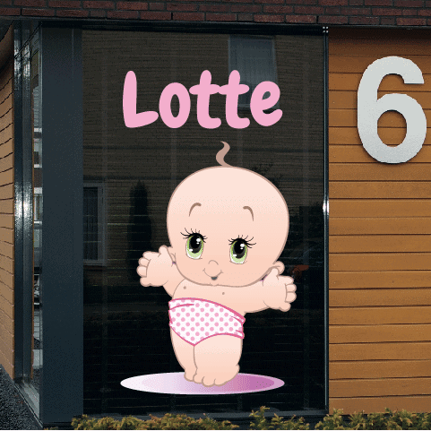 Geboortesticker op raam type Lotte
