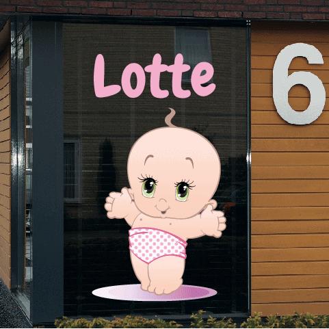 Geboortesticker op raam type Lotte