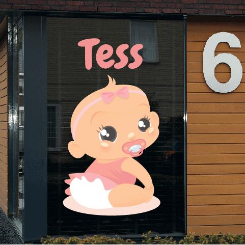 Geboortesticker op raam type Tess