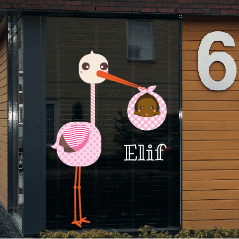 Geboortesticker op raam type elif