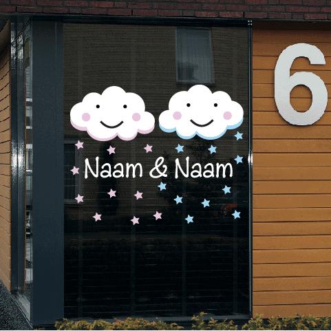 Geboortesticker op raam type tweeling-jm-wolk