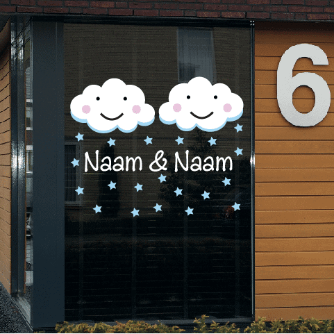Geboortesticker op raam type tweeling-jongens