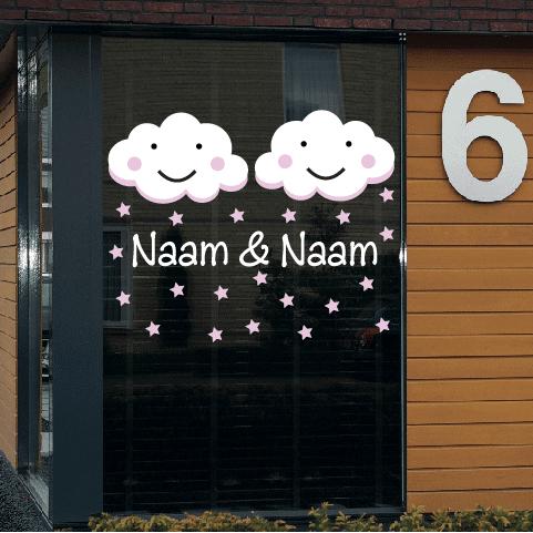 Geboortesticker op raam type tweeling-meisjes