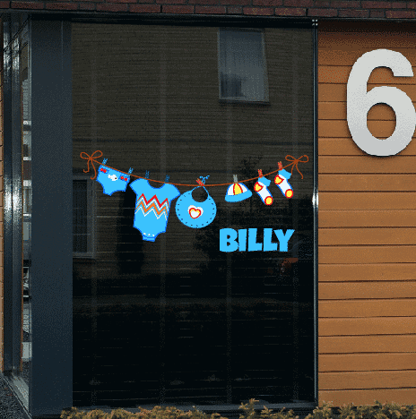 Geboortesticker op raam type Billy