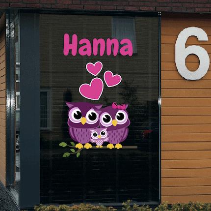 Geboortesticker uiltjes Hanna