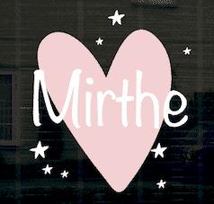 Geboortesticker hart Mirthe
