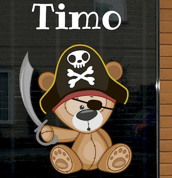 Geboortesticker piraat beer Timo met zwaard