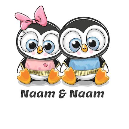Geboortesticker jongen en meisje Tweeling met pinguins