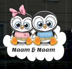 Geboortesticker jongen en meisje Tweeling met pinguins op het raam.