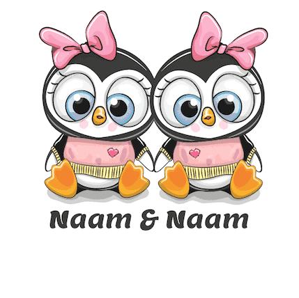 Geboortesticker meisjes Tweeling Pinguins