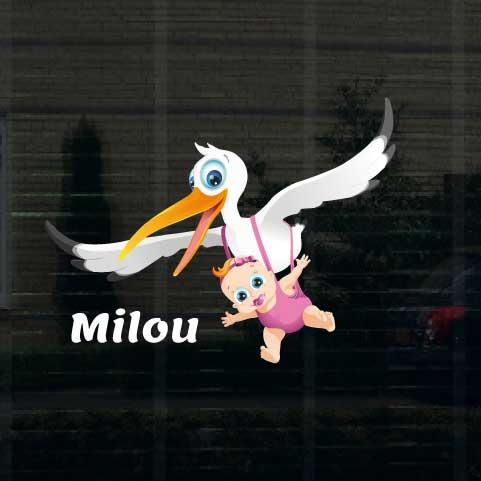 Geboortesticker meisje type Milou